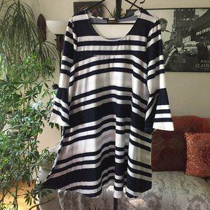 REBORN Blue & White Striped Stretch Knit Dress